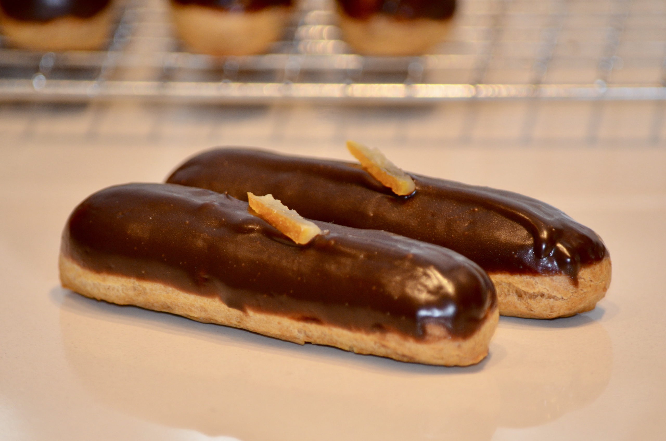 Dark Chocolate and Orange Eclairs